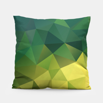 Miniaturka Abstract background of triangles polygon wallpaper in green yellow lime colors Pillow, Live Heroes