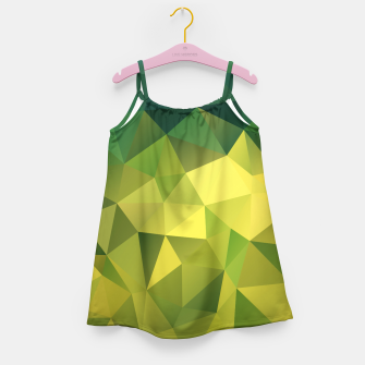 Thumbnail image of Abstract background of triangles polygon wallpaper in green yellow lime colors Girl's Dress, Live Heroes