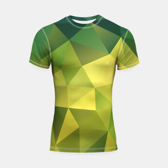 Thumbnail image of Abstract background of triangles polygon wallpaper in green yellow lime colors Shortsleeve Rashguard, Live Heroes