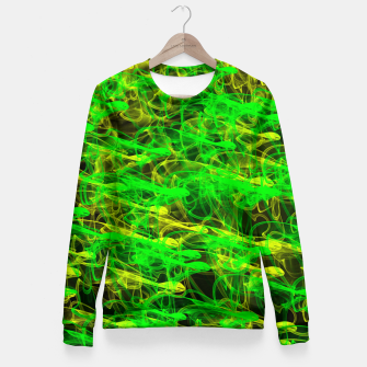 Thumbnail image of glowing art (green and yellow) Fitted Waist Sweater, Live Heroes