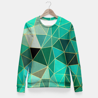 Miniaturka  Emerald and golden pattern Fitted Waist Sweater, Live Heroes