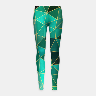Thumbnail image of  Emerald and golden pattern Girl's Leggings, Live Heroes