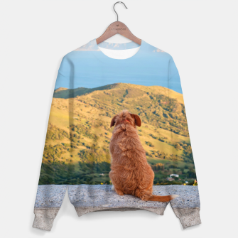Thumbnail image of Lonely dog watching on Gibraltar strait Sweater, Live Heroes