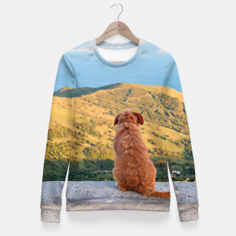 Miniaturka Lonely dog watching on Gibraltar strait Fitted Waist Sweater, Live Heroes