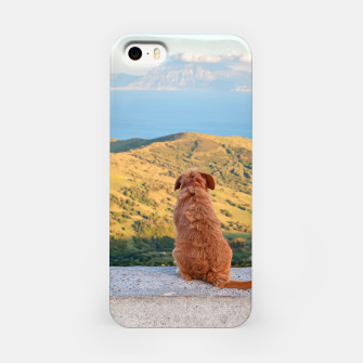 Thumbnail image of Lonely dog watching on Gibraltar strait iPhone Case, Live Heroes