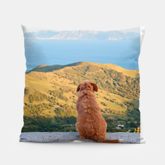 Miniaturka Lonely dog watching on Gibraltar strait Pillow, Live Heroes