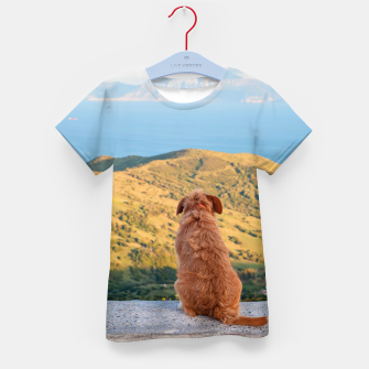Thumbnail image of Lonely dog watching on Gibraltar strait Kid's T-shirt, Live Heroes