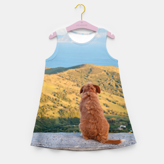 Miniaturka Lonely dog watching on Gibraltar strait Girl's Summer Dress, Live Heroes