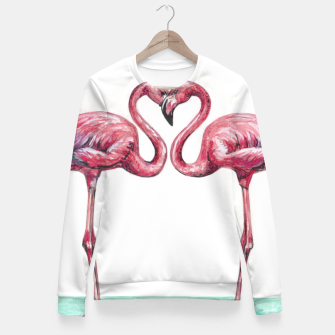 Thumbnail image of Pink flamingos in love Sudadera entallada, Live Heroes