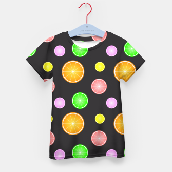 Thumbnail image of Orange, lemon, lime and grapefruit summer party pattern Kid's T-shirt, Live Heroes