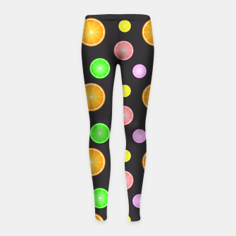 Thumbnail image of Orange, lemon, lime and grapefruit summer party pattern Girl's Leggings, Live Heroes