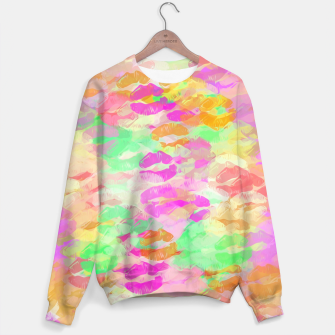 Thumbnail image of sexy kiss lipstick abstract pattern in pink orange yellow green Sweater, Live Heroes