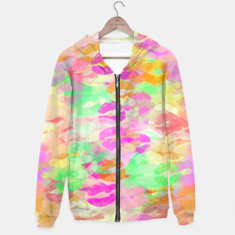 Thumbnail image of sexy kiss lipstick abstract pattern in pink orange yellow green Hoodie, Live Heroes