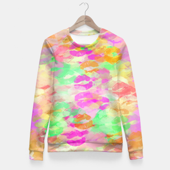 Miniaturka sexy kiss lipstick abstract pattern in pink orange yellow green Fitted Waist Sweater, Live Heroes