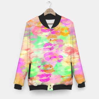 Thumbnail image of sexy kiss lipstick abstract pattern in pink orange yellow green Baseball Jacket, Live Heroes