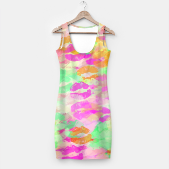 Miniatur sexy kiss lipstick abstract pattern in pink orange yellow green Simple Dress, Live Heroes