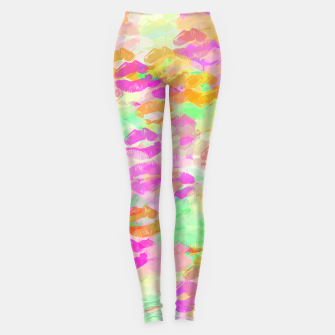 Miniatur sexy kiss lipstick abstract pattern in pink orange yellow green Leggings, Live Heroes