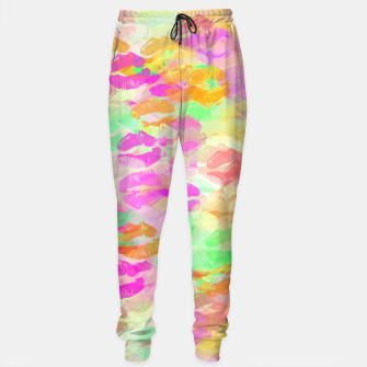 Thumbnail image of sexy kiss lipstick abstract pattern in pink orange yellow green Sweatpants, Live Heroes