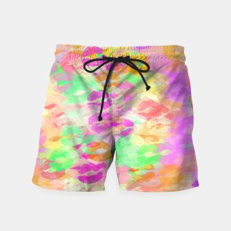 Thumbnail image of sexy kiss lipstick abstract pattern in pink orange yellow green Swim Shorts, Live Heroes