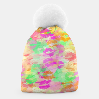 Thumbnail image of sexy kiss lipstick abstract pattern in pink orange yellow green Beanie, Live Heroes