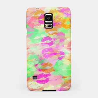 Miniatur sexy kiss lipstick abstract pattern in pink orange yellow green Samsung Case, Live Heroes