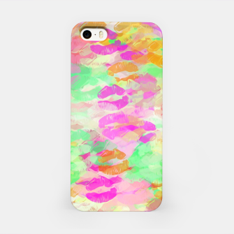 Miniaturka sexy kiss lipstick abstract pattern in pink orange yellow green iPhone Case, Live Heroes
