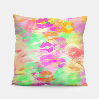Thumbnail image of sexy kiss lipstick abstract pattern in pink orange yellow green Pillow, Live Heroes