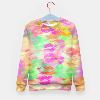Miniatur sexy kiss lipstick abstract pattern in pink orange yellow green Kid's Sweater, Live Heroes