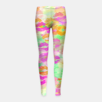 Miniaturka sexy kiss lipstick abstract pattern in pink orange yellow green Girl's Leggings, Live Heroes
