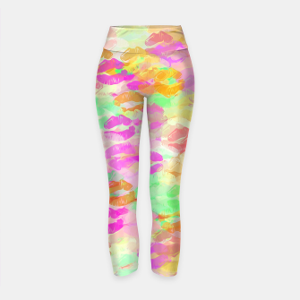 Miniatur sexy kiss lipstick abstract pattern in pink orange yellow green Yoga Pants, Live Heroes