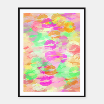 Miniatur sexy kiss lipstick abstract pattern in pink orange yellow green Framed poster, Live Heroes