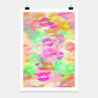 Miniaturka sexy kiss lipstick abstract pattern in pink orange yellow green Poster, Live Heroes
