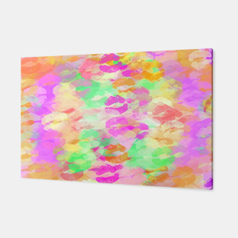 Miniaturka sexy kiss lipstick abstract pattern in pink orange yellow green Canvas, Live Heroes