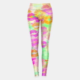 Thumbnail image of sexy kiss lipstick abstract pattern in pink orange yellow green Leggings, Live Heroes