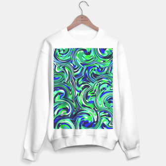 Miniatur spiral line drawing abstract pattern in blue and green Sweater regular, Live Heroes