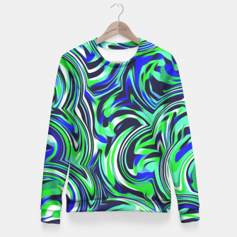 Miniaturka spiral line drawing abstract pattern in blue and green Fitted Waist Sweater, Live Heroes