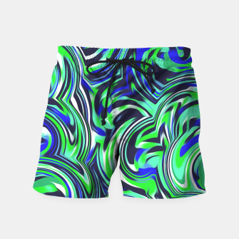 Imagen en miniatura de spiral line drawing abstract pattern in blue and green Swim Shorts, Live Heroes