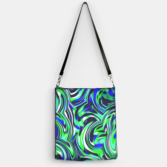 Miniaturka spiral line drawing abstract pattern in blue and green Handbag, Live Heroes