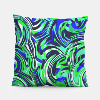 Thumbnail image of spiral line drawing abstract pattern in blue and green Pillow, Live Heroes