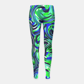 Miniaturka spiral line drawing abstract pattern in blue and green Girl's Leggings, Live Heroes