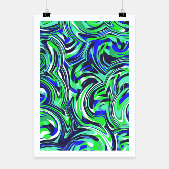 Thumbnail image of spiral line drawing abstract pattern in blue and green Poster, Live Heroes