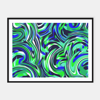 Miniatur spiral line drawing abstract pattern in blue and green Framed poster, Live Heroes