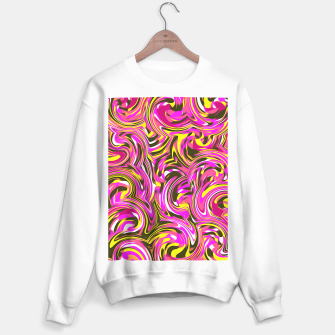 Miniatur spiral line drawing abstract pattern in pink yellow black Sweater regular, Live Heroes