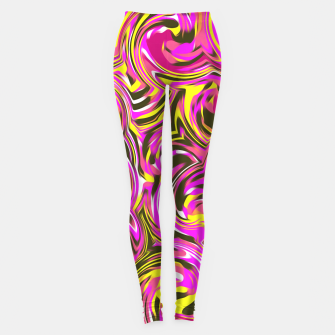 Miniatur spiral line drawing abstract pattern in pink yellow black Leggings, Live Heroes
