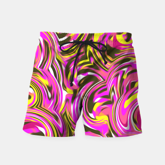 Imagen en miniatura de spiral line drawing abstract pattern in pink yellow black Swim Shorts, Live Heroes