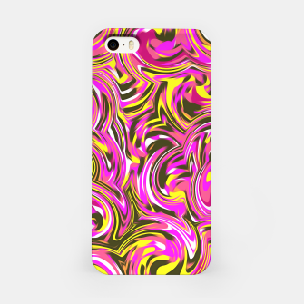 Miniatur spiral line drawing abstract pattern in pink yellow black iPhone Case, Live Heroes