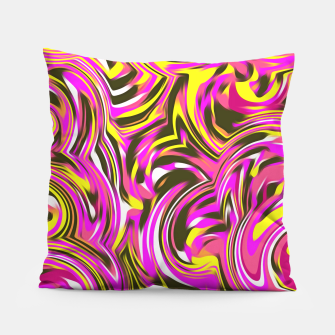 Thumbnail image of spiral line drawing abstract pattern in pink yellow black Pillow, Live Heroes