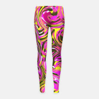 Miniaturka spiral line drawing abstract pattern in pink yellow black Girl's Leggings, Live Heroes