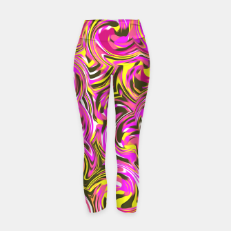 Miniatur spiral line drawing abstract pattern in pink yellow black Yoga Pants, Live Heroes
