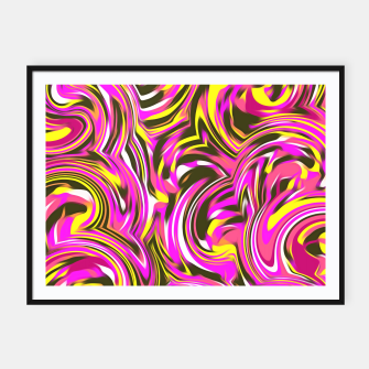 Miniatur spiral line drawing abstract pattern in pink yellow black Framed poster, Live Heroes